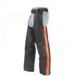 Black Leather thermal Chaps With Orange Straps