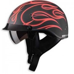 Matte Red Flame - GM65 Half Helmet- Fully Dressed
