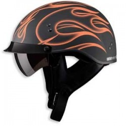 Orange Flame GM65 Half Helmet- Fully Dressed