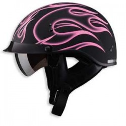 Flat pink flame GM65 Half Helmet- Fully Dressed