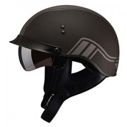 TWIN MATTE BLACK GM 65 Half Helmet- Fully Dressed