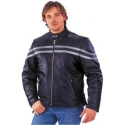 Men's PREMIUM Leather Jacket with silver stripe