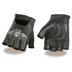 Men's Leather Fingerless Glove w/ Eagle Head Embroidery