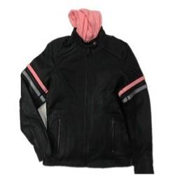 Ladies Premium Leather Jacket BLK/Pink