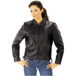 Ladies Premium Braided Leather Jacket