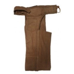 Tall Unisex Premium Braided Leather Chaps Brown