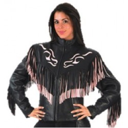 Ladies Pink/Black Fringe Naked Leather Jacket