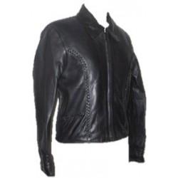 Ladies Braided Leather Jacket Black