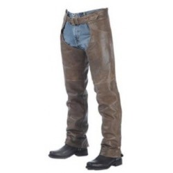 Unisex Premium Buffalo Leather Chaps Brown