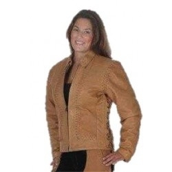 Ladies Laced Leather Jacket Tan