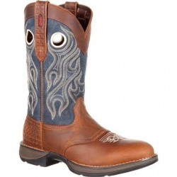 "Rebel by Durango Men's DDB0127 12"" BROWN AND BLUE JEAN DENIM Western boot with DSS"