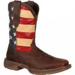 """Rebel by Durango Men's DB5554 11"""" Brown/Union Flag Pull-on Western boot with DSS"""