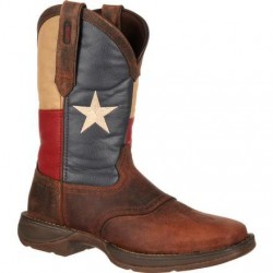 """Rebel by Durango Men's DB4446 11"""" Brown/Texas Flag Pull-on Western boot with DSS"""