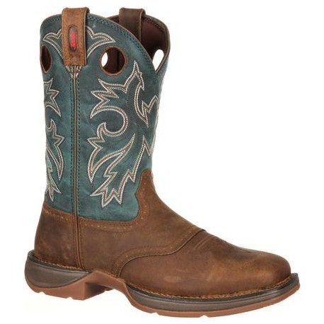 "Rebel by Durango Men's DB016 11"" Tan/Navy Pull-On Western boot with DSS"