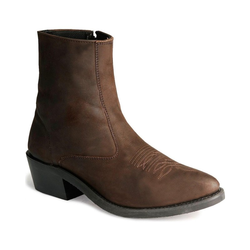 cba3b6e9cb0 OLD WEST Men's Zipper Western Ankle Boot - Mz7082
