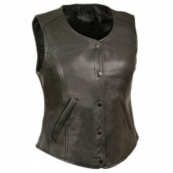 Ladies leather vest PLAIN- 3089