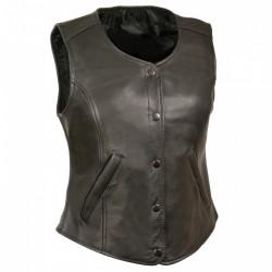 Ladies leather vest PLAIN- 3089