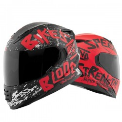 BIKES ARE IN MY BLOOD® SS1310 Helmet red /black by Speed & Strength