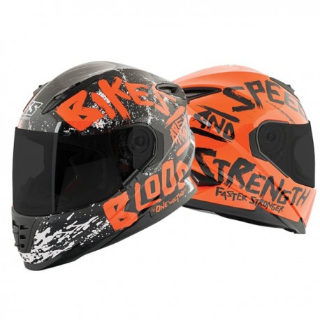 BIKES ARE IN MY BLOOD® Orange SS1310 Helmet by Speed & Strength