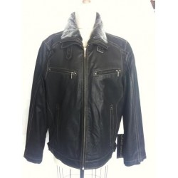 Leather jacket with double collar 47536