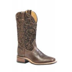"""BOULET 12"""" Ladies Selvaggio Wood Barocco Calf Tabac Wide square toe boot 1135"""
