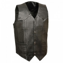 Plain Economy Leather Vests Mens