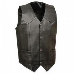 Plain Economy Leather Vests Mens