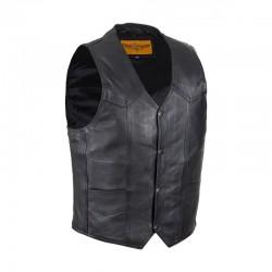 Mens Plain Black Cow Hide Leather Vest