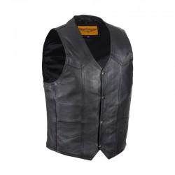 Mens Plain Black Cow Hide Leather Vest
