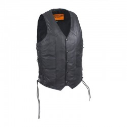 Mens Cow hide LeatherVest With Side Laces