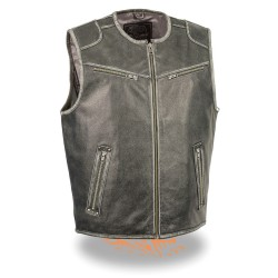 Men's Vintage Distressed GREY Zipper Front Vest