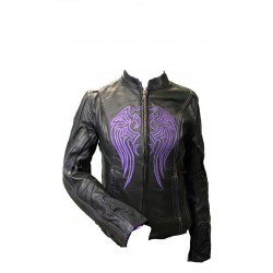 Ladies Leather Jacket W/Purple Embroidery