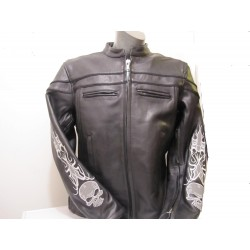 Mens Leather jacket with Reflective skulls