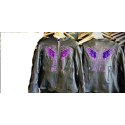 Ladies Leather Jacket W/Purple Embroidery & rivets