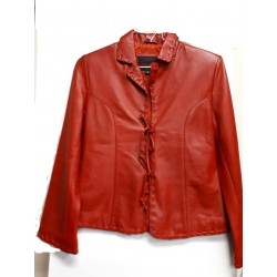Ladies tiedown leather jacket Red
