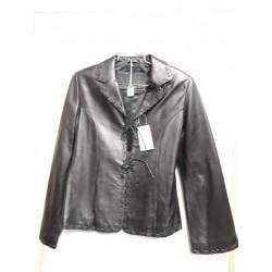 Ladies tiedown leather jacket Black