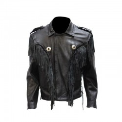Mens Leather Bon Jovi Jacket With Braid & Fringe