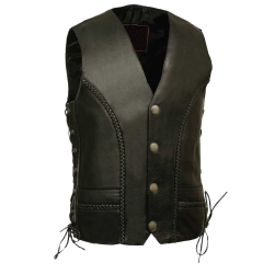 Mid Weight LEATHER VEST with BRAIDS IN FRONT & BACK
