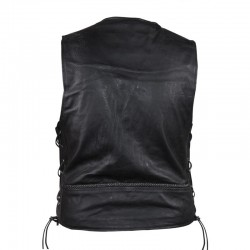 LEATHER VEST with BRAIDS IN FRONT & BACK