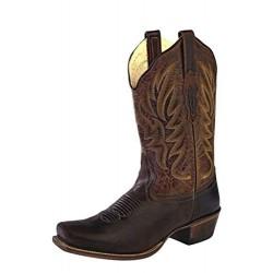Old West Dark Brown -Brown Ladies Medium Square Toe Boot - 18002