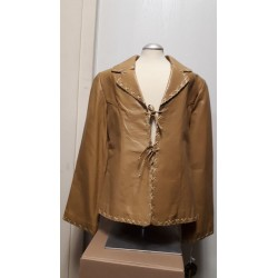Ladies tiedown leather jacket Honey