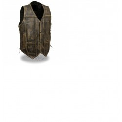 Men's Brown Distressed 10 Pocket Vest