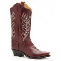 Ladies Red / white Leather boot Old West LF1574
