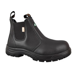 Tiger Men's Safety Boots Steel Toe Lightweight CSA Slip On Leather Work Boots 5925 black