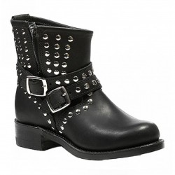 Women's Boulet Black Motorcycle Boot with Zipper 4350