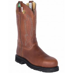 """Canada West 5296 12"""" Pecan Tumbled--Leather-Lined Steel-Toe Work Western Boots CSA Grade 1"""