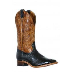 Boulet 9531 Black Ostrich Wide Square Toe Boots