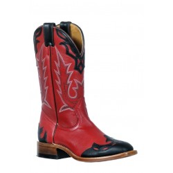 Boulet 9372 Tamboreado Black Deerlite Red Medium Square Toe Boots