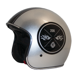 Zox ROUTE 80 VINTAGE Ace Silver Helmet