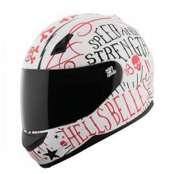 HELL'S BELLES SS700 White /Red fullface helmet by Speed & Strength